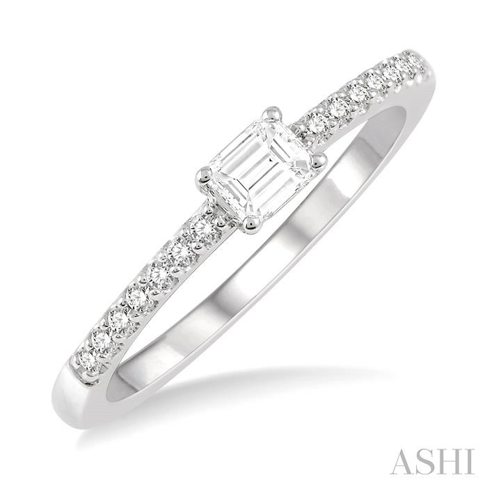 OCTAGON SHAPE DIAMOND EAST WEST STACK RING