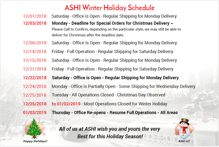 Winter Holiday Schedule 2018