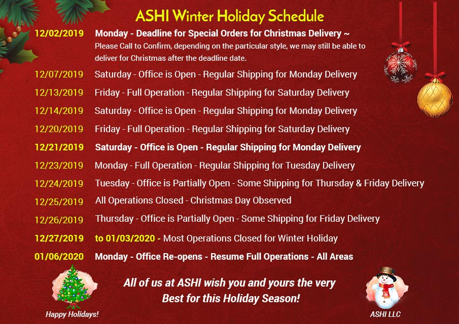 Winter Holiday Schedule
