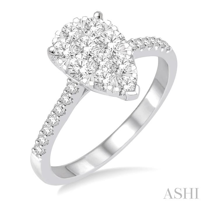 PEAR SHAPE LOVEBRIGHT DIAMOND ENGAGEMENT RING