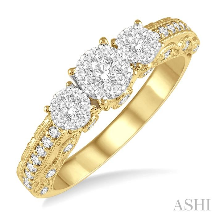 THREE STONE LOVEBRIGHT DIAMOND RING