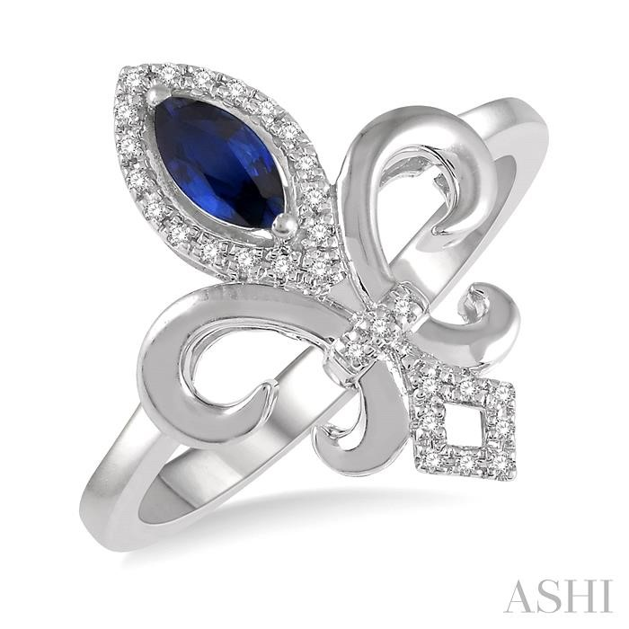 GEMSTONE & DIAMOND FLEUR DE LIS RING