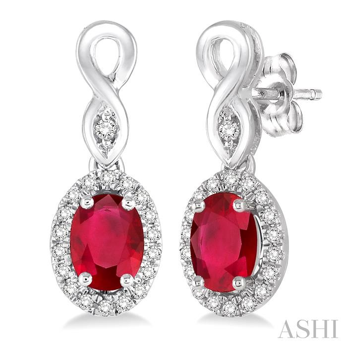 OVAL SHAPE GEMSTONE & DIAMOND EARRINGS