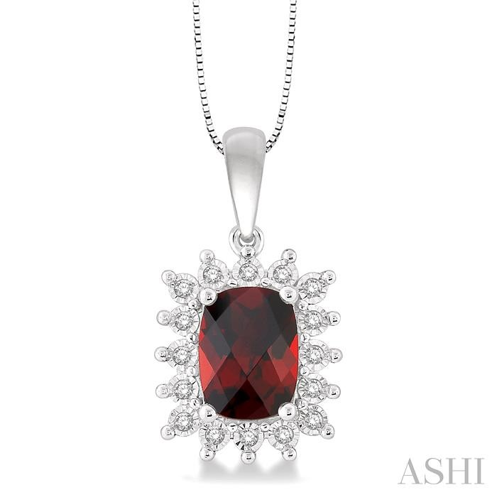 CUSHION SHAPE GEMSTONE & DIAMOND PENDANT