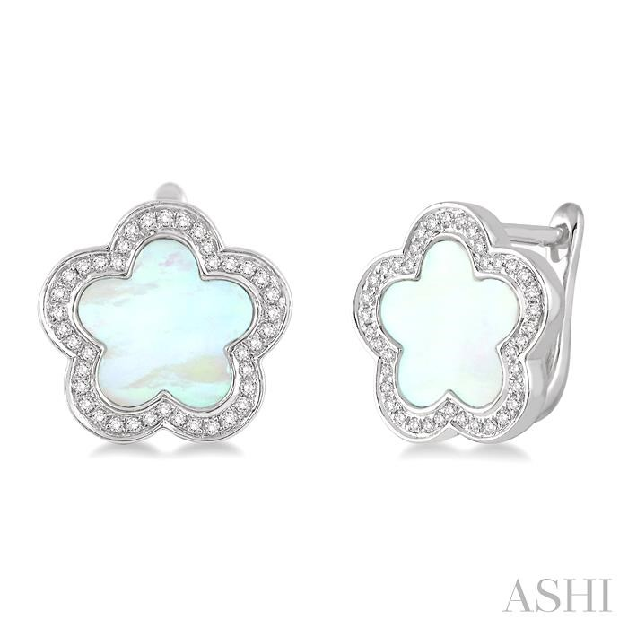 FLOWER SHAPE GEMSTONE & DIAMOND EARRINGS
