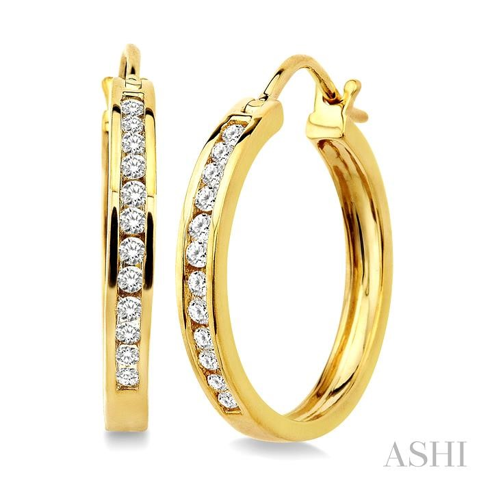 CHANNEL SET DIAMOND HOOP EARRINGS