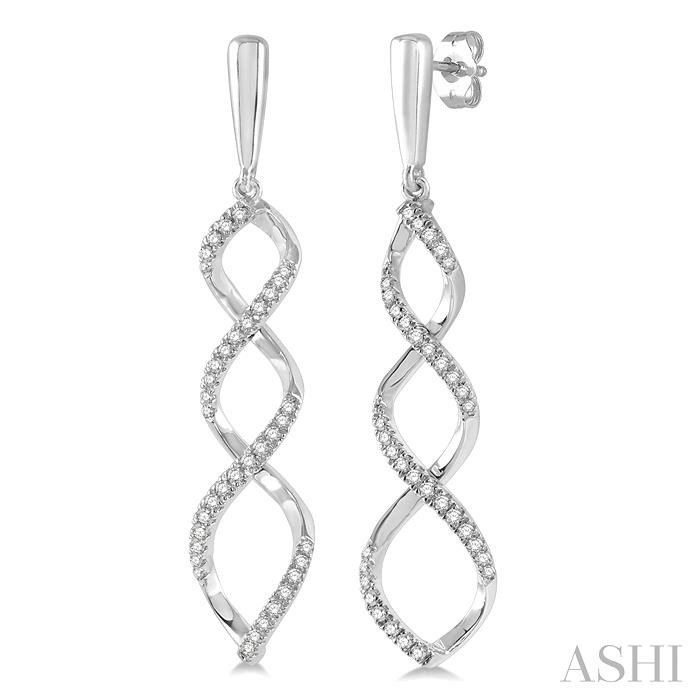 DIAMOND RIBBON SWIRL EARRINGS