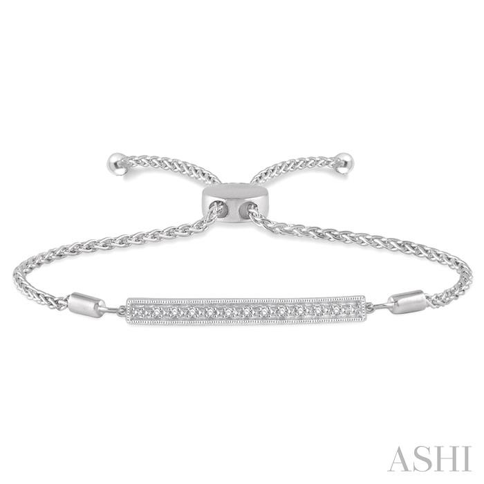 SILVER BAR LARIAT DIAMOND BRACELET