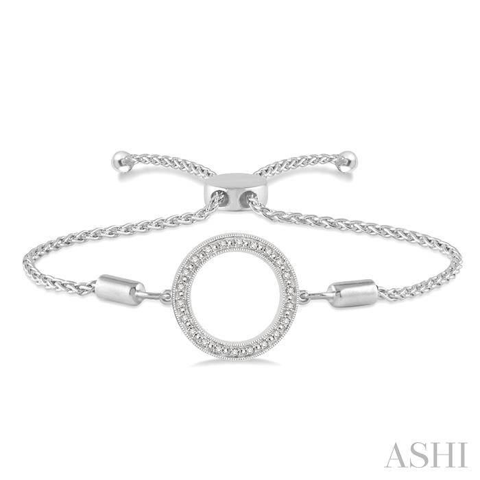 SILVER CIRCLE LARIAT DIAMOND BRACELET