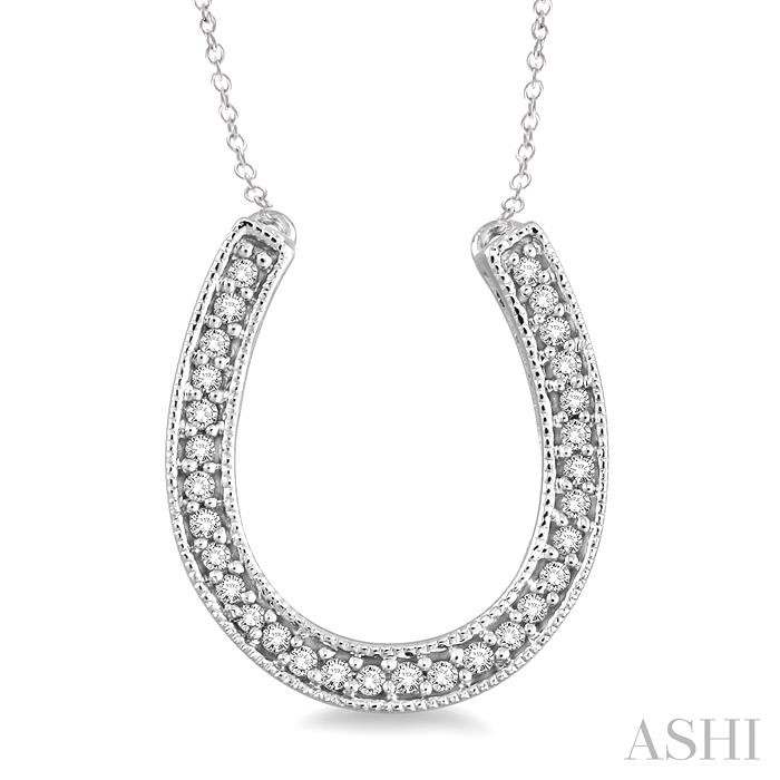 SILVER HORSE SHOE DIAMOND PENDANT