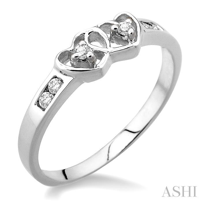 SILVER 2STONE TWIN HEART DIAMOND RING