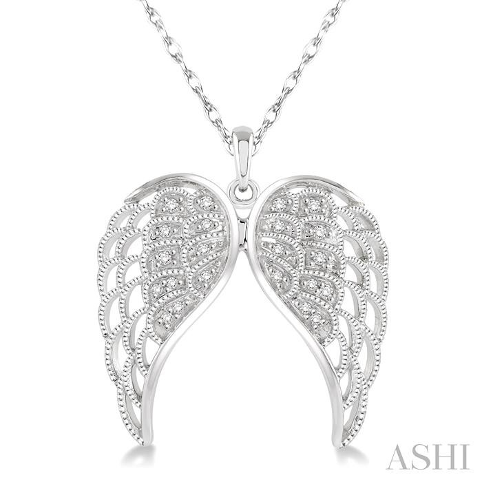 SILVER ANGEL WING DIAMOND PENDANT