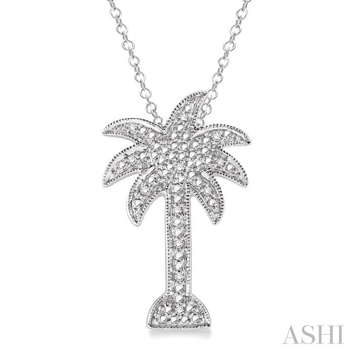 SILVER PALM TREE DIAMOND PENDANT