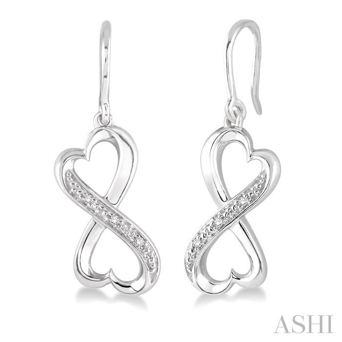 SILVER INFINITY HEART SHAPE DIAMOND EARRINGS