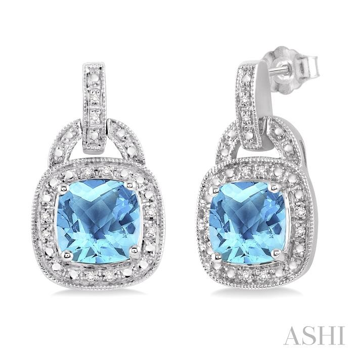 SILVER GEMSTONE & DIAMOND EARRINGS