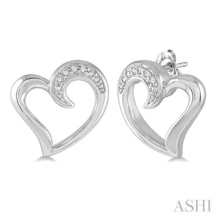 SILVER HEART DIAMOND EARRINGS