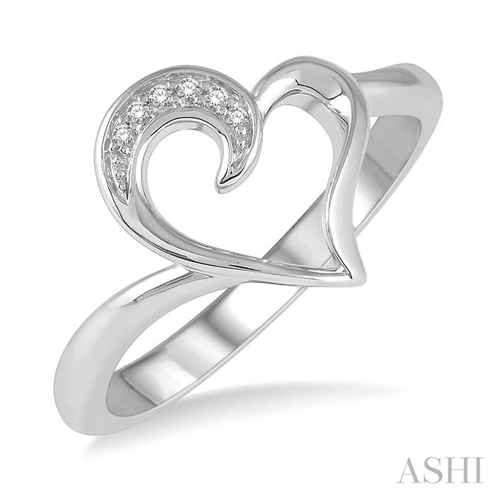 SILVER HEART SHAPE DIAMOND RING